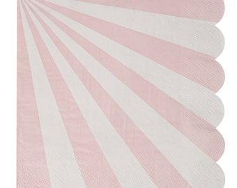 Napkins | Meri Meri | Toot Sweet | Pink & White Stripe Large Napkins | Paper Napkins | Party Napkins | Party Supplies | The Party Darling