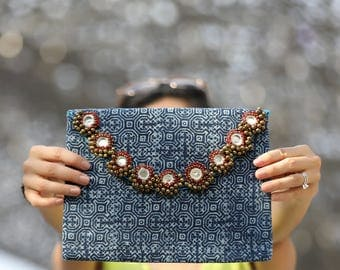 Batik Fabric Clutch , iPad Bag , Vintage clutch , Batik Clutch , Ethnic bag