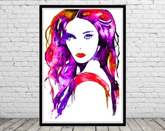 Femme fatale, watercolor print, fashion Illustration, room decor, poster, print (2297b)