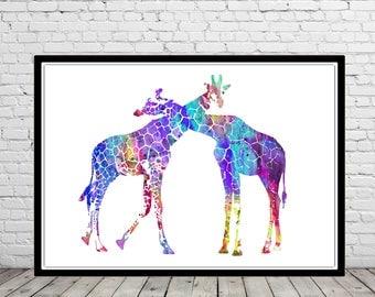 Giraffe, watercolor giraffe, giraffes, giraffes love, love print, home decor, watercolor giraffes, Giraffe art, animal art, nursery (3227b)