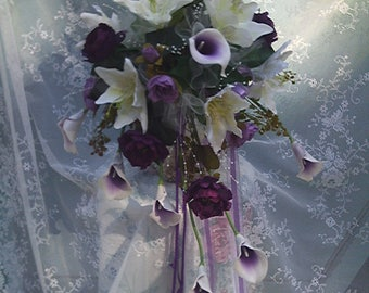 bridal cascade bouquet--real touch and silk-purple and white-picasso calla lilies