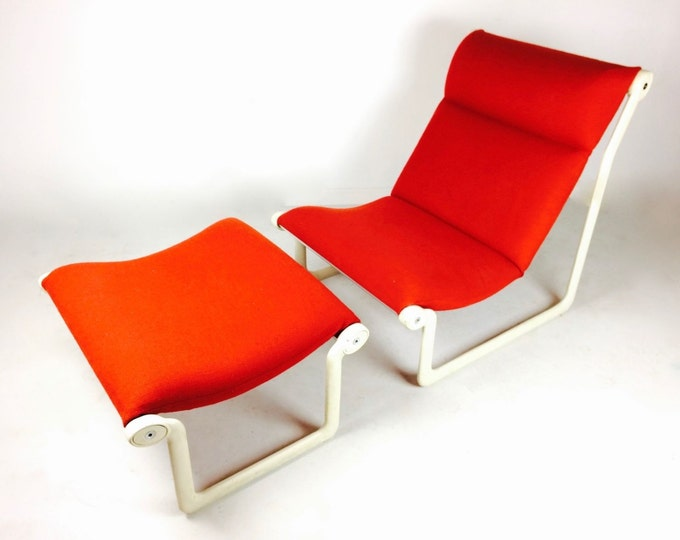 SOLD Knoll Lounge Chair & Ottoman Red Nubby Sling Chaise