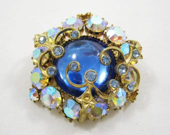 Brooch,Czech glass,Pendant, decoration, bijouterie, retro, decor, gift, collectible, Soviet Union, Ukraine, Russia, USSR