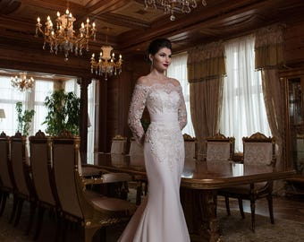 Spring Sale / Mermaid / Trumpet Handmade Wedding Dress off the Shoulders / Long Lace Sleeves / Lace Up / Train / Buy Online Bridal Gown