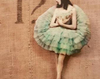 Ballerina wood brooch pin badge green tutu dancer