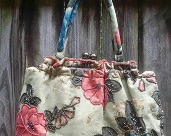 Vintage Cotton Sequined/Red/Blue/Black Handbag