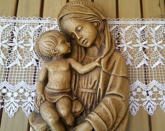 Vintage Religious Mother & Child Wallhanging/Wood/Mould