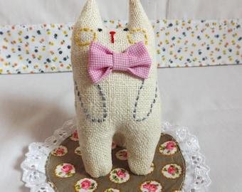 Cat, Cute Cat , Gift Cat Miniature, Doll Cat, Cat Art Doll, Plush Cat, Toy Cat, Gift For Cat Lover.