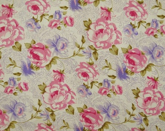 """Indian Dress Fabric, Floral Print, Home Decor Fabric, White Fabric, Sewing Crafts, 43"""" Inch Rayon Fabric By The Yard ZBR533A"""