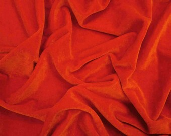 """Dress Material, Stretch Fabric, Sewing Craft, Red Velvet Fabric, 62"""" Inch Wide Fabric By The Yard ZVE90L"""