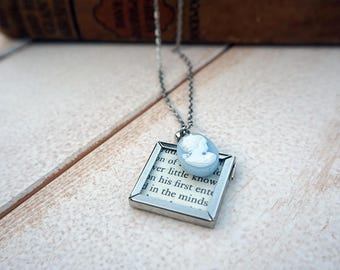Pride and Prejudice Necklace | Jane Austen Necklace | Book Page Necklace | Cameo Necklace | Book Accessory