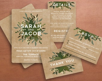 Floral Wedding Invitation in Green, Thank You Card, Details Card, and RSVP Card