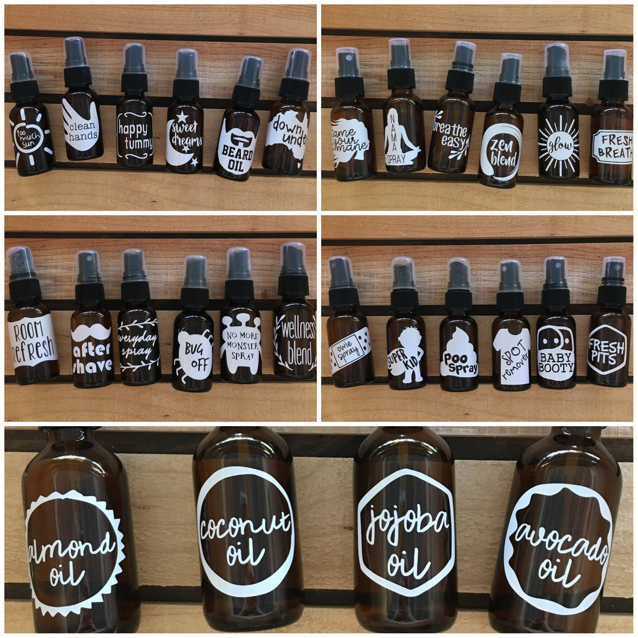 5 Pack Essential Oil Decals Labels Stickers For Spray