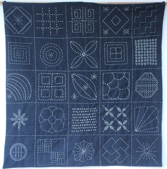 Sashiko Wall Hanging Sampler Japanese Traditional Modern Hand