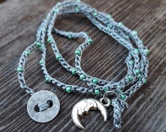 Green beaded grey crochet multiple wrap Bracelet crocheted wrap, boho crochet wrap bracelet, knitted wrap bracelet. moon charm, moon pendant