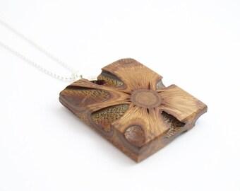 Geometric necklace - wood jewelry, pendant necklace, wooden pendant, wooden necklace, gift for her, wood necklace, australian gift, banksia
