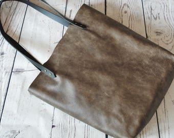 Slate gray leather tote bag, leather shopper, real leather tote, shoulder bag, grey leather bag, leather purse, leather tote bag