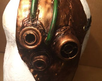 Mask steampunk in bronze with details