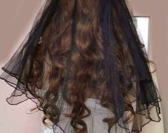 Black Bridal Veil with Small Black Roses ~ Girls Night Out Veil ~ Australian Made ~ Clearance  SALE ITEM ~ One Only
