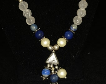 CLEARANCE* Lapis Necklace and Earring Set