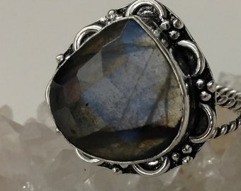 Faceted Labradorite Ring Size 8
