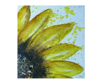 Small sunglower oil painting, yellow flower
