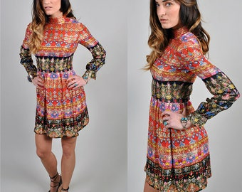Vintage 1970's Malcolm Starr Metallic Mini Dress Made in Hong Kong S3