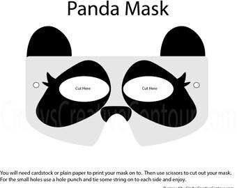 Downloadable Panda Mask - Pretend Play - Dress Up - Children - Imagination - Pretend - Kids Parties