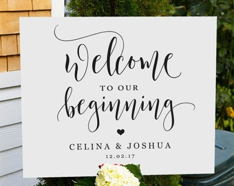 Welcome to our Wedding Sign, Printable Wedding Welcome sign, Personalized Wedding signs, Welcome wedding template sign, custom name wedding