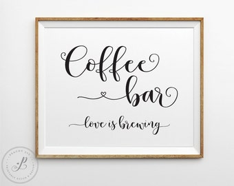 Coffee bar sign, Coffee bar decor, Coffee favor sign, Shabby chic bridal shower, shabby chic coffee table sign, Printable bridal shower sign