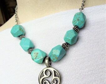 Vintage Turquoise Tribal Necklace, Silver Tone Pendant Turquoise Chunky Necklace, Southwestern Gemstone Bead Blue Necklace, Boho Jewelry