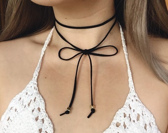Black Wrap Choker Necklace in Vegan Suede/Leather