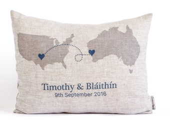 Rustic Linen Pillow, Country To Country, State to State, Couples Gift, Housewarming Gift,  Anniversary Gift, Gift for Him, Gift For Her