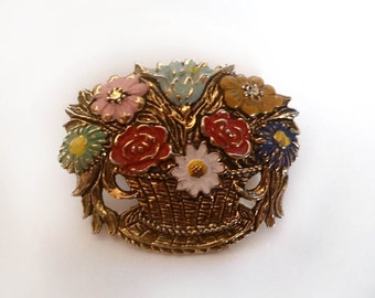 Real Gold Filled Brooch, Flower Bucket, golden Flower Brooch