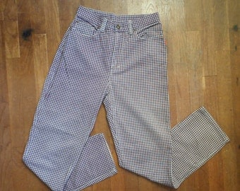 vintage 80s marco polo quality jeans wear checkered shadow plaid high waist tapered denim jeans