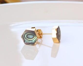 Natural Abalone Shell Stud Earrings/ Hexagon