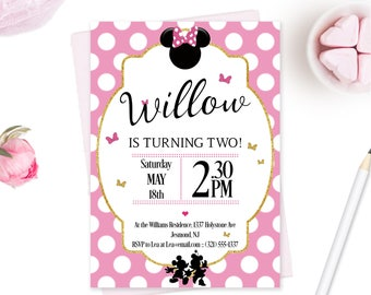 Minnie Mouse Birthday Invitation - Minnie Mouse Invitation - Minnie Mouse Invite - Minnie Mouse Birthday Invite - Pink