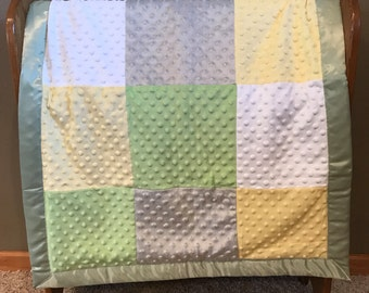 Neutral Minky Baby Blanket - Green, Yellow, Gray, and White Minky with Gray Chevron Flannel