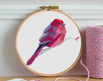 bird cross stitch pattern modern geometric bird red pattern canary nature PDF Cross Stitch instant download canary bird abstraction animals