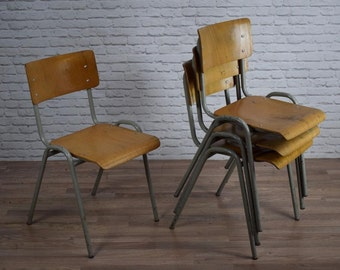 Vintage Industrial Stacking Cafe Bar Kitchen Chairs (60 AVAILABLE)