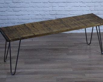 Vintage Industrial Rustic Pine Hair Pin Leg Bench/ Coffee Side Table