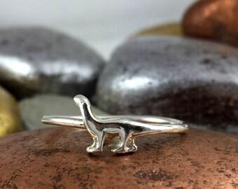 Dinosaur Ring, Brontosaurus Ring, Fine Silver Ring, Solid Sterling Silver Ring, Dinosaur Jewelry, Silver Dinosaur, Brontosaurus Dinosaur