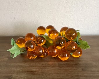 Vintage Lucite Grapes; Lucite Decor; Amber Lucite Grape Cluster; Acrylic Grapes; Mid Century Decor; Grape Cluster; 1960s