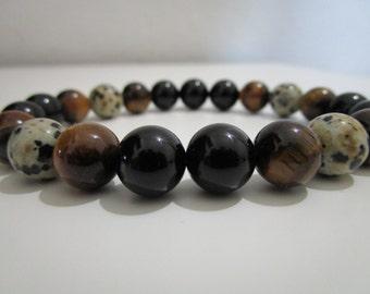 Mens bracelet, Mens jewelry, Tiger eye bracelet, Dalmatian jasper bracelet, Gift, Gift for men, Mens stone bracelet, Natural stone bracelet