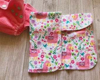 Coral Llama Southwestern Print Flannel and Zorb Newborn Prefold Diaper Insert