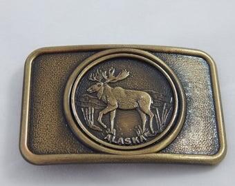 Vintage Belt Buckle Alaska with Moose