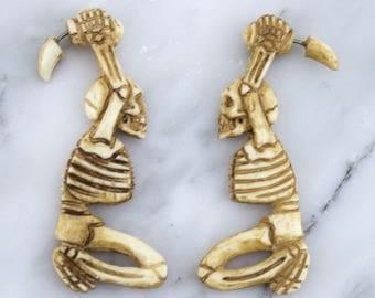 Skeleton Stained Bone Hangers / Fake Gauges Earrings