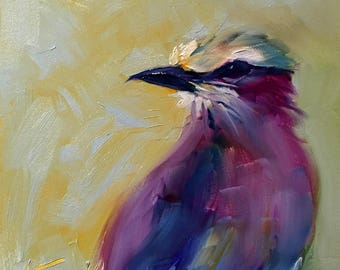 colorful personality // bird art // bird painting // original art // original painting // colorful bird // fine art // oil painting // art