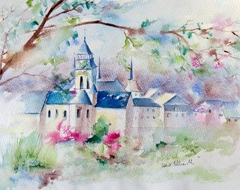 Original watercolor painting of the abbey of Fontevraud in Loire valley in France, french art