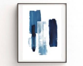 Abstract digital print, blue painting, digital download print, abstract printable, blue  watercolor, minimalist art, printable art, indigo